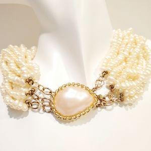 """Kenneth Lane Vintage Pearl Multi-strand Torsade Necklace Gold-tone Signed 17.5"""""""